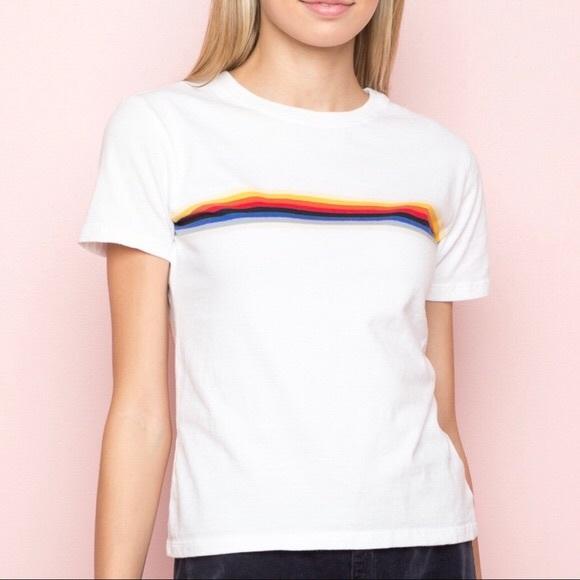 21ba3f282a Brandy Melville Tops - Brandy Melville White Rainbow Stripe Jamie T-Shirt